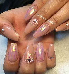 Shattered glass nail art design coffin nude