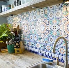 KITCHEN: I want moroccan tiles for my splashback! Love the colour of the timber countertop + open shelving too.