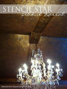 Glam and gold ceiling with the Acanthus Damask Stencil | Project by Abdul Kassab | Royal Designn Studio