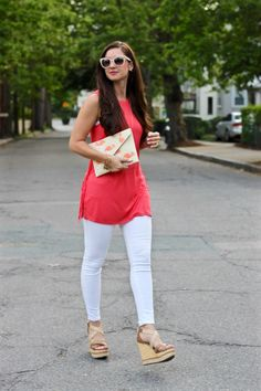 La Mariposa Blog: Coral side fringe tunic, Charming Charlie side fringe tank, coral tunic, cute summer tunic outfit