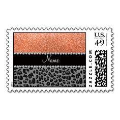 Name pastel orange glitter black leopard postage