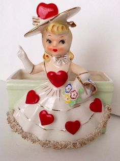 Vintage Valentine Lady Planter or Vase by SnickKnacks on Etsy, $68.00