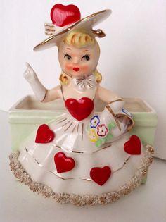 Vintage Valentine Lady Planter or Vase by SnickKnacks on Etsy, $68.00