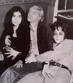 Inexplicable snapshot of Yoko Ono, John Lennon Andy Warhol
