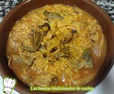 Receta de arroz con alcachofas y calamares