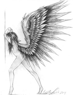 pencil drawings of angels and demons Pencil Drawings Of Flowers, Cool Drawings, Drawing Sketches, Sketching, Angel Sketch, Angel Drawing, Ange Demon, Bild Tattoos, Mode Blog