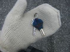 "crocheted key cozy - for those days  when your keys say, ""DAMN it's cold out here!"""