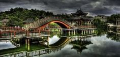 A bridge at Hengdian Film Studios (Zhejiang province)
