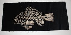 Just can't leave this fish alone. This is a Thermofax print with Discharge Paste on black discharge velvet.