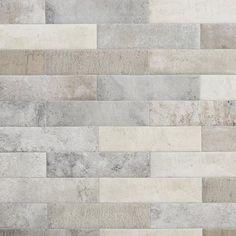 Brick Discover Stone Silver Porcelain Tile - 3 x 14 - 100221118 Brick Look Tile, Stone Look Tile, Brick Wall, Easy Tile, Rustic Bathrooms, Tile Bathrooms, Guest Bathrooms, Hall Bathroom, Glass Bathroom