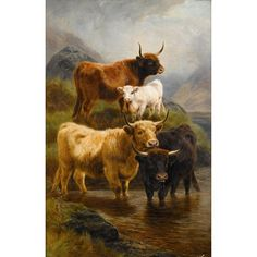 WILLIAM R.C. WATSON, JR.   (british 1831-1921)  HIGHLAND CATTLE  Signed and dated 'W. Watson 1884' bottom right, oil on canvas  36 x 24 in. (91.4 x 61cm) Estimate $4,000-6,000 Sold for $5,313 (buyer's premium included)