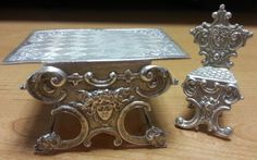 Sterling Dutch ? Silver Miniature Dollhouse Goddess Face Table and Chair