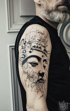 Buddha arm tattoo by Koit. Black graphic style. Berlin // Travelling