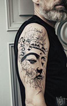Buddha arm tattoo by Koit. Black graphic style. Berlin // Travelling