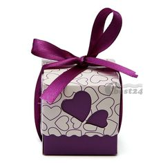 50pcs Heart Hollow Candy Sweet Boxes Wedding Party Favor Purple