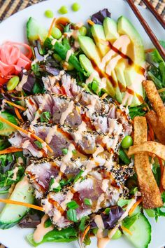 Sesame Crusted Seared Ahi Tuna 'Sushi' Salad with Wasabi Vinaigrette; made the dressing only for a seared ahi salad. Really Good **MK Ahi Tuna Steak Recipe, Tuna Steak Recipes, Tuna Steaks, Seafood Recipes, Salad Recipes, Cooking Recipes, Seared Ahi Tuna Recipe, Appetizers, Salads