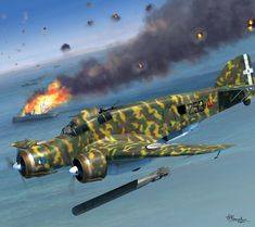 Savoia-Marchetti SM 79 Sparviero Torpedo Bomber, by Jerry Boucher Ww2 Aircraft, Military Aircraft, Luftwaffe, Air Fighter, Fighter Jets, Military Art, Military History, Italian Army, Aircraft Painting