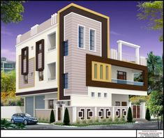 best villas in yapral House Gate Design, House Front Design, Modern House Design, Building Elevation, House Elevation, Steel Railing Design, Compound Wall Design, Front Elevation Designs, Independent House