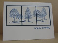 Gwen's challenge inspiration was beautiful blue and white Delft tile. I used the split panel technique to mimic tiles. I think Lovely as a Tree is the LBD of stamp sets!