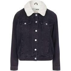 TOPSHOP PETITE Borg Denim Jacket (140 CAD) ❤ liked on Polyvore featuring outerwear, jackets, petite, washed black, black moto jacket, black jean jacket, collar jacket, cowboy jacket and motorcycle jacket