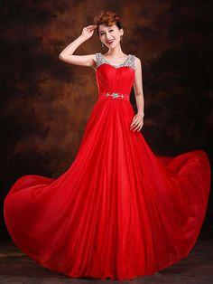 Formal Evening Dress - Burgundy Plus Sizes A-line / Princess Scoop Sweep/Brush Train Silk - USD $74.99