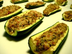 This veggie recipe looks delish... Creamy Zucchini Boats Yup I'm gonna make this and eat the ish out of it!!!! Lol