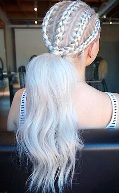 90 Platinum Blonde Hair Shades And Highlights For 2020 Braided Ponytail, Braided Hairstyles, Cool Hairstyles, Gorgeous Hairstyles, Hairstyle Ideas, Hair Ponytail, Style Hairstyle, Hair Ideas, Natural Hair Styles