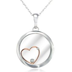 Make an unforgettable surprise and offer a fantastic anniversary gift to the ones you love with this adorable Kobelli diamond necklace. Its cute floating-heart pendant is embellished with two small ro