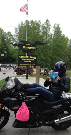 Jennifer- at the entrance of the Tail of the Dragonn route. 318 curves in 11 miles
