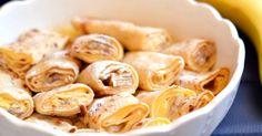 """Mennyei Banános-vaníliás """"rakott"""" palacsinta recept! Rakott palacsinta kicsit másképpen, vaníliás krémmel, banánkarikákkal és vaníliás öntettel. Isteni finom, garantáltan szeretni fogja az egész család! ;)"""