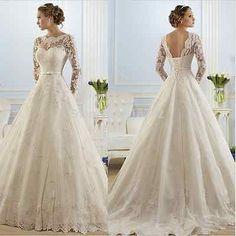 New-White-ivory-Wedding-dress-Bridal-Gown-custom-size-6-8-10-12-14-16-18