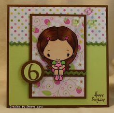 """A """"Strawberry Shortcake"""" inspired 6th birthday card. Patterned papers from Doodlebug Designs, stamped image from The Greeting Farm."""