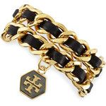 Tory Burch Woven Leather Chain Wrap Bracelet
