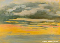 """The sun has just fallen into the water at Treasure Island Beach, Florida.  oil on panel 5x7"""" - 15 mins."""