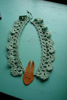 Peter Rabbit Collar.  crochet and leather.  I designed and made this.