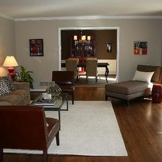 Red and Brown Living Room, Transitional, living room, Benjamin Moore Grant Beige