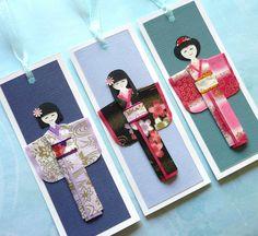 Handmade origami kimono doll bookmarks (B477). $7,30, via Etsy.
