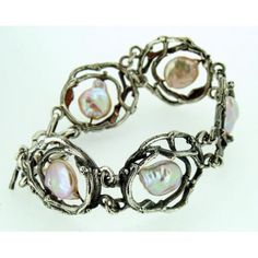 Bracciale artigianale in argento e perle linea terra