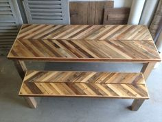 Pallet Chevron Dining Table- 58 DIY Pallet Dining Tables | DIY to Make