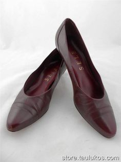 Womens shoes Vintage SELBY Low Kitten Heel Pumps Brown LEATHER Cap toe USA 8 M #PumpsClassics