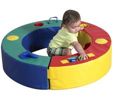 """Playring Playring surrounds secure area, prevents toppling, provides holes, squeakers and bells for sounds, wood shapes, and pockets. Use 2 pieces separately, hook & loop ring together or fold up and carry away. 36""""dia x 8""""h. Award winning play system for ages 6 months through 2 years old.  CF321-955 $274.95  #childrensfactory #softplay #school #preschool #infant"""