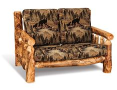 Amish Rustic Log Loveseat Rich and rustic living, this log loveseat is available in aspen, pine or cedar wood. Choice of custom fabric or leather. Log style living built for two! #logfurniture #rustic #loveseat