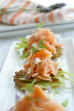 Angel Hair Pasta Cakes with Salmon and Lavender Flavoured Goat Cheese