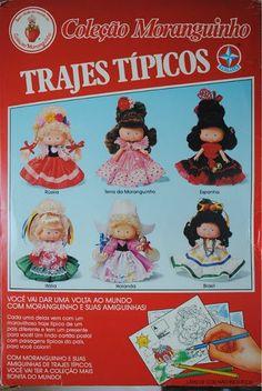 1991 Coleção Moranguinhos Trajes Tipicos: Espanha, Russia, Italia, Holanda e Brasil.