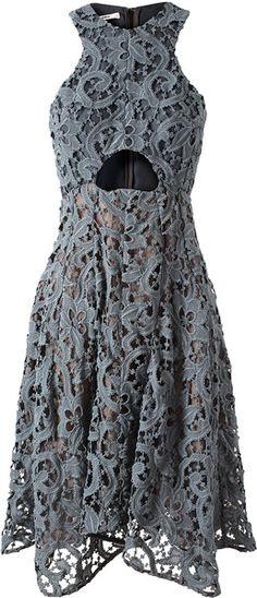 CARVEN Macramé Lace and Silk Dress - Lyst