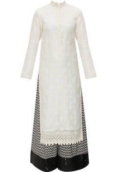 Cream embroidered kurta with black printed pants