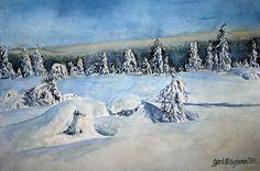 Watercolor. Gerd Elgshøen. Akvarell fra mitt fjellparadis, Gnolla, Flendalen, Trysil, vinteren 2013