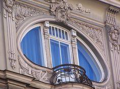 Riga, Latvia: Art Nouveau balcony of a building in Elizabetes Street. Riga, Latvia. >> Explores our Deals!