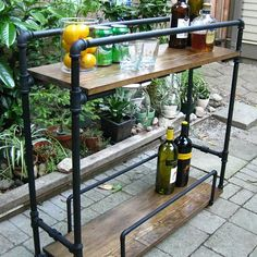 DIY bar cart made from pipes, great for the patio.