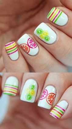 Cool Summer Nail Art Ideas – Summer Nail Art Ideas in WinterSummer Citrus Nails with Nailed Kit – Easy Nail Art And Nail Designs For Spring And Summer That Are Creative And Cute. Spring Nail Art, Nail Designs Spring, Cool Nail Designs, Spring Nails, Summer Nails, Art Designs, Gel French Manicure, French Manicure Designs, Gel Manicure